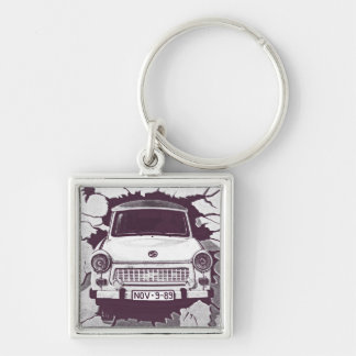 Trabant Car , Black & White, Berlin Wall (1) Silver-Colored Square Keychain