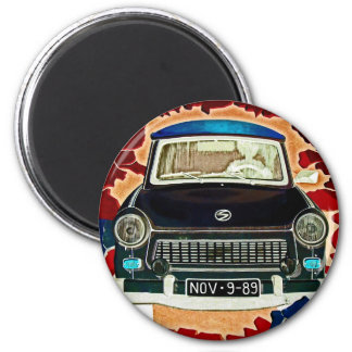 Trabant Car , Browns and Reds, Berlin Wall 2 Inch Round Magnet