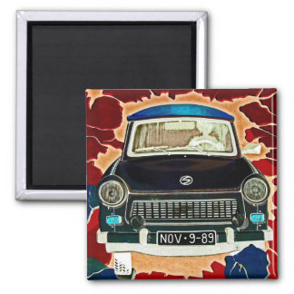 Trabant Car , Browns and Reds, Berlin Wall 2 Inch Square Magnet