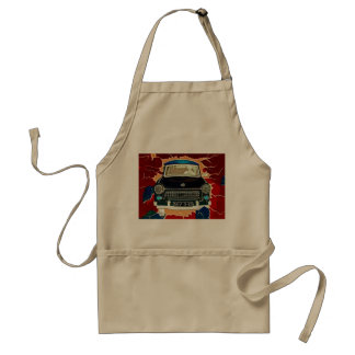 Trabant Car , Browns and Reds, Berlin Wall Adult Apron