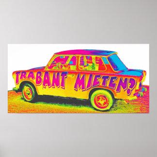 Trabant Car for Rent(Mieten),Rainbow,White Back Poster