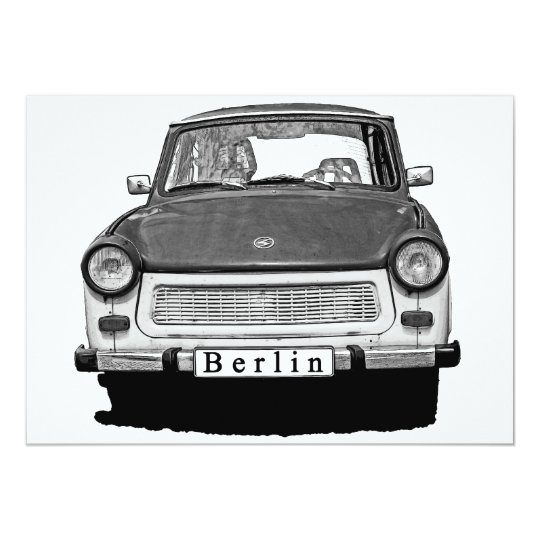 Trabant Car Front, Black and White,  Berlin Card