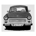Trabant Car Front, Black and White,  Berlin Poster