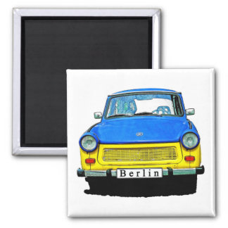 Trabant Car Front, Blue & Yellow,  Berlin 2 Inch Square Magnet
