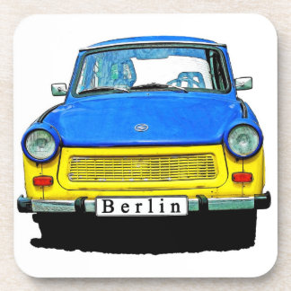 Trabant Car Front, Blue & Yellow,  Berlin Beverage Coasters