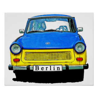 Trabant Car Front, Blue & Yellow,  Berlin Poster