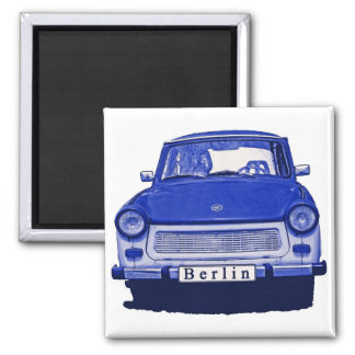 Trabant Car in Blue, Berlin 2 Inch Square Magnet