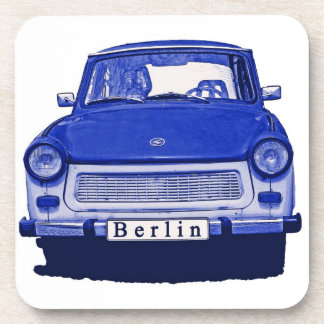 Trabant Car in Blue, Berlin Beverage Coasters