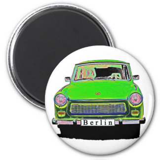 Trabant Car in Green, Berlin 2 Inch Round Magnet