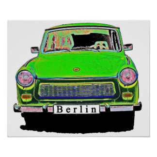 Trabant Car in Green, Berlin Poster