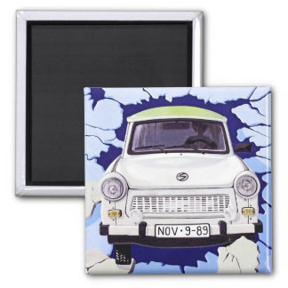 Trabant Car , Pale Blue, Berlin Wall 2 Inch Square Magnet