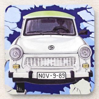 Trabant Car , Pale Blue, Berlin Wall Beverage Coaster