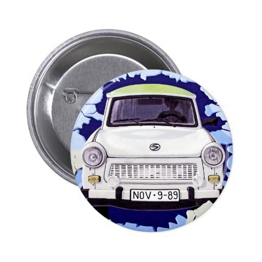 Trabant Car , Pale Blue, Berlin Wall 2 Inch Round Button