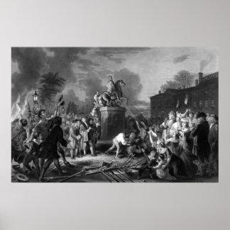 Tracción abajo de la estatua de George III Poster