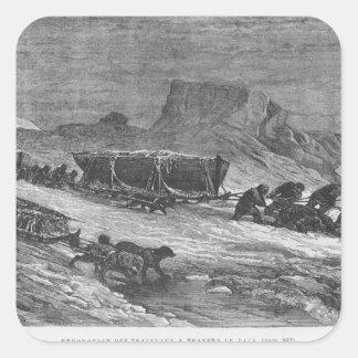 Tracción de los trineos a través del hielo de pegatinas cuadradas personalizadas