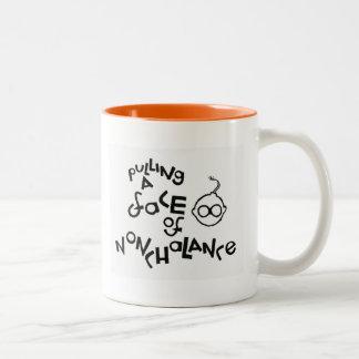 Tracción de una cara de la indiferencia taza de café