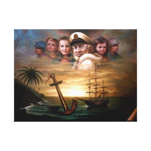 Trace el capitán y a cinco niños contra la impresi impresión de lienzo