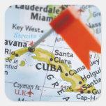 Trace el perno colocado en La Habana, Cuba en el m Pegatina Cuadradas Personalizadas