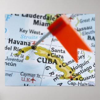 Trace el perno colocado en La Habana, Cuba en el m Póster