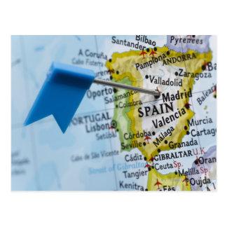 Trace el perno colocado en Madrid España en el ma Postal