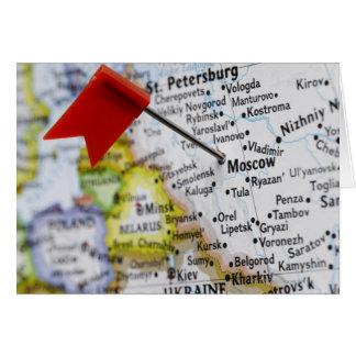 Trace el perno colocado en Moscú, Rusia en mapa, Tarjeta