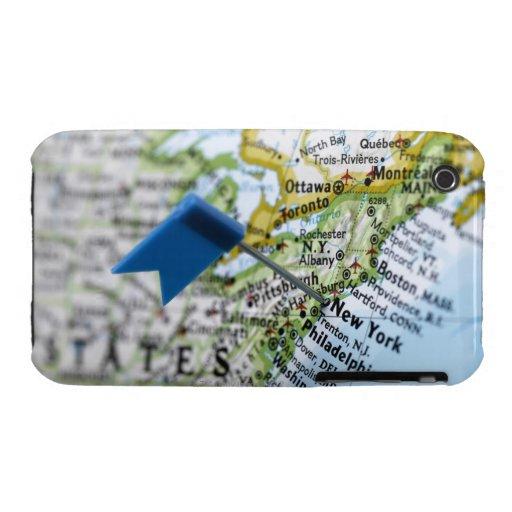 Trace el perno colocado en New York City en el map iPhone 3 Carcasas