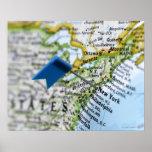 Trace el perno colocado en New York City en el map Poster