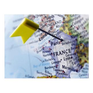Trace el perno colocado en París Francia en el ma Tarjetas Postales