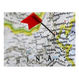 Trace el perno colocado en Pekín, China en mapa, Postal