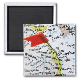 Trace el perno colocado en Shangai, China en mapa, Imán Cuadrado