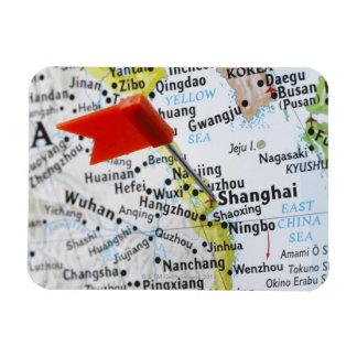 Trace el perno colocado en Shangai, China en mapa, Imán Foto Rectangular