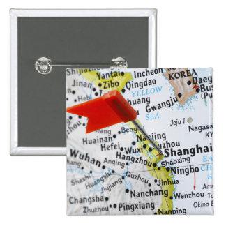 Trace el perno colocado en Shangai, China en mapa, Pin Cuadrada 5 Cm