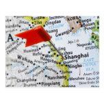 Trace el perno colocado en Shangai, China en mapa, Postal