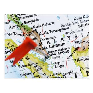 Trace el perno colocado en Singapur en el mapa, pr Tarjetas Postales