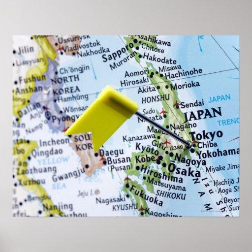 Trace el perno colocado en Tokio, Japón en el mapa Impresiones