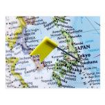 Trace el perno colocado en Tokio, Japón en el mapa Tarjetas Postales