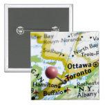 Trace el perno colocado en Toronto, Canadá en mapa Pin Cuadrada 5 Cm