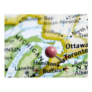 Trace el perno colocado en Toronto Canadá en mapa Tarjetas Postales
