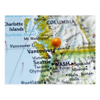 Trace el perno colocado en Vancouver Canadá en ma Tarjetas Postales