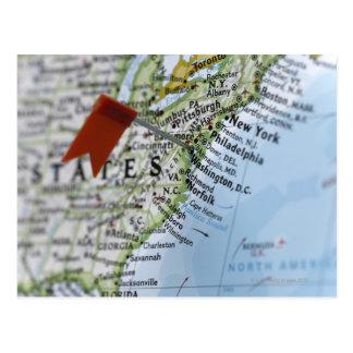 Trace el perno colocado en Washington C C en map Postales