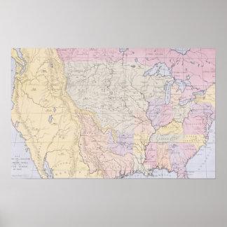 Trace mostrar los lugares de las tribus indias póster