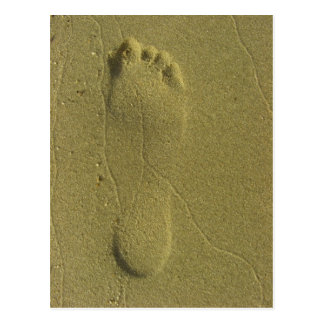 Traces in the sand - beach footprint postcard