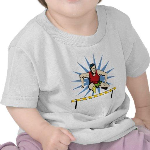 track and field athlete jumping hurdles t-shirts