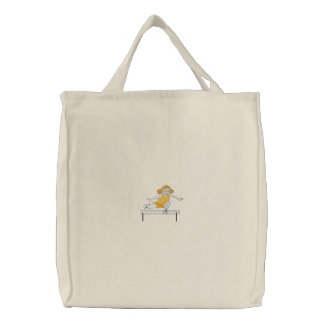 Track and Field Girl Embroidered Tote Bag
