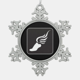 Track and Field Icon Snowflake Pewter Christmas Ornament