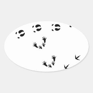 TRACK animal trace track animal wolf lynx steam tu Oval Sticker