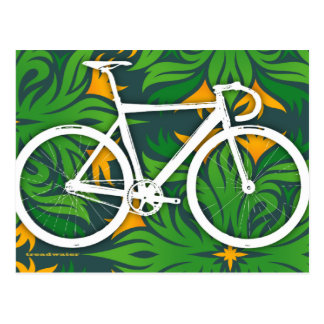 Track Bicycle - Fiery Green Pattern Postcard