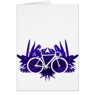 Track Bicycle on Violet Greeting Cards