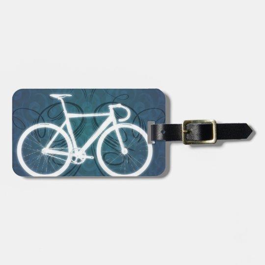 Track Bike - blue tattoo style Bag Tag
