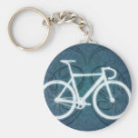 Track Bike - blue tattoo style Basic Round Button Keychain